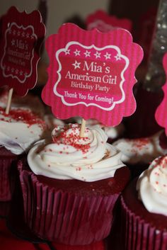 American Girl Cupcake Toppers    Party Decor, Tags, Labels, and much more from the White EG by Kroma Design Studio; contact us: thewhiteeg@gmail.com for a custom order.    {FEATURED PARTY} American Girl Birthday Party ~ Kroma Design Studio Parties & Events