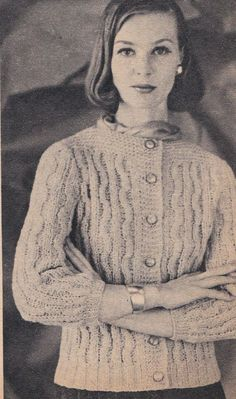 Vintage Knitting Pattern Instructions for Three Quarter Sleeve Ladies Cardigan