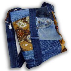 Recycled Old Jeans, Japanese Obi  & Hand-dyed Indigo Fabric - Messenger Bag by Kazuenxx on Etsy