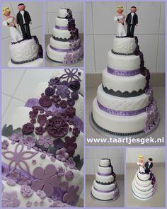 Wedding cake white purple
