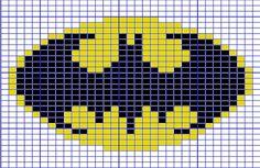 Ravelry: Mini Batman Logo Chart pattern by Elizabeth Thomas. 31 stitches wide by 24 stitches tall. Knitting Charts, Loom Knitting, Knitting Stitches, Baby Knitting, Knitting Patterns, Mini Cross Stitch, Cross Stitch Charts, Cross Stitch Designs, Cross Stitch Patterns