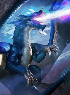 blue dragon creature design, blue fire breathing winged dragon for concept art creature and monster design. Beast with horn.