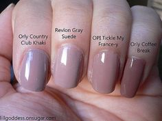 Pink Taupe Nail Polish Comparison Orly Country Club Khaki Revlon Gray Suede Opi Tickle My France Y And Coffee Break