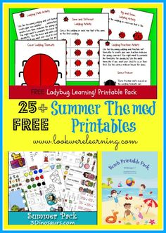 A Roundup of 25+ Free Summer Themed Printables - Look! We're Learning!