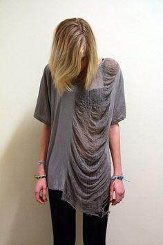 Shredded Shirt pale grey Grunge Rock unisex by commeonveut on Etsy