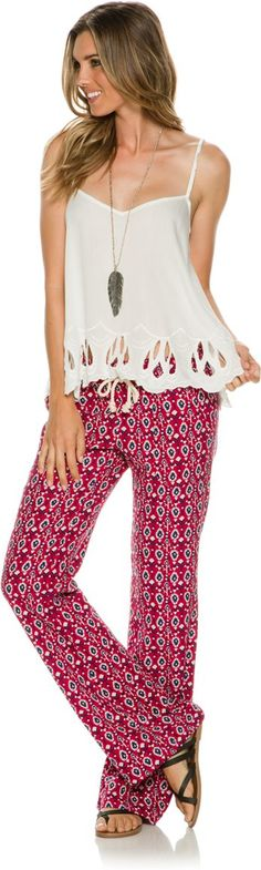 Roxy Oceanside Pant. Gypsy Style, Bohemian Style, Hippie Boho, Boho Chic, Summer Clothes, Summer Outfits, Roxy Clothing, Latest Summer Fashion, Cool Style