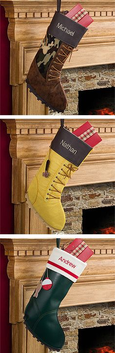 "These ""Manly"" stockings are awesome! They have personalized stockings for hunters, fishermen, and a work boot stocking for handy men! Such a cool idea! They're at personalizationmall and they're on sale right now! #Christmas #Stockings"