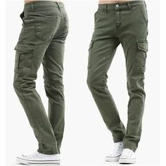 casual mens cargo pants green khaki skinny jeans for men pants trouser | Lady Bane