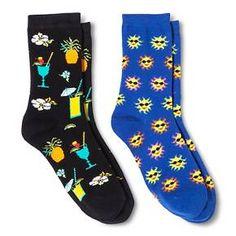 Davco Women's 2-Pack Fun Socks Sun/Drinks - Black One Size : Target