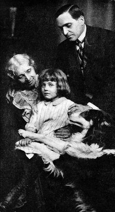 Still from the 1912 short film The Church Across the Way, featuring Mary Maurice, Helene Costello, Earle Williams and Jean the Vitagraph Dog Caption: They all decide to begin life all over again, together