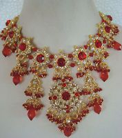 South Indian Traditional Jewellery gold tone RED design necklace set earring