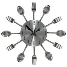 Kitchen Wall Clock Cutlery Decor 3D Art Silverware Utensils
