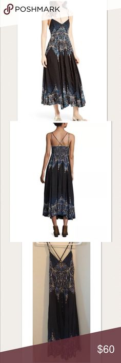 """$148 Free People 'Be My Baby' Maxi Dress $148 Free People 'Be My Baby' Maxi Dress Black Combo ~Size XS~  Retails for $148 + Tax  Nice! gently worn Button front Partially lined Adjustable, cross straps  Measures approximately: bust across 14"""" Rayon   Nice!! Gently worn. Washed and ready to wear!   PRICED TO SELL FAST! PLEASE ASK ANY QUESTIONS BEFORE PURCHASE, THANKS CHECK OUT MY OTHER DESIGNER HANDBAGS AND CLOTHING! Free People Dresses Maxi"""