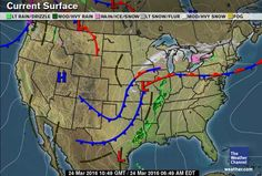 Current US Surface Weather Map Weather Pinterest Weather