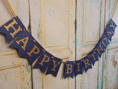 Happy Birthday Banner, Embossed Navy and Gold Banner, Womans Birthday Banner, Adult Birthday Decorations by PaperEtcStudio on Etsy