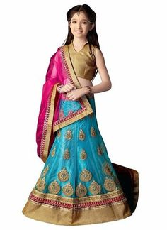 Girls Blue Netted Lehengacholi Outfits ,Indian Dresses