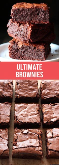 ULTIMATE brownies are ultra thick, fudgy, chewy, and chocolaty! #brownies #chocolate #baking #dessert #food #recipe #bestbrownies #browniesrecipe