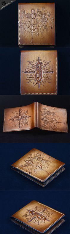 Handmade custom Slipknot band carved leather short wallet for men #Slipknot  Link:http://www.everhandmade.com/collections/short-wallets/products/handcraft-handmade-custom-slipknot-band-carved-leather-short-wallet-for-men