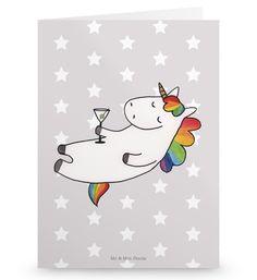 Grußkarte Einhorn Cocktail aus Karton 300 Gramm  weiß - Das Original von Mr. & Mrs. Panda.  Die wunderschöne Grußkarte von Mr. & Mrs. Panda im Format Din Hochkant ist auf einem sehr hochwertigem Karton gedruckt. Der leichte Glanz der Klappkarte macht das Produkt sehr edel. Die Innenseite lässt sich mit deiner eigenen Botschaft beschriften.    Über unser Motiv Einhorn Cocktail  Das Cocktail-Einhorn ist das perfekte Geschenk für die beste Freundin. Als Einladung für einen Cocktail oder einfach…