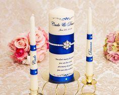 Royal Blue Unity Candle Set, Personalized Wedding Unity Candles, Pearl Unity Candles for Wedding Card Box Wedding, Wedding Guest Book, Wedding Sets, Long Burning Candles, Purple Wedding, Ivory Wedding, Wedding Unity Candles, Royal Blue And Gold, Candle Set