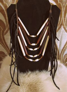 Amber & Buffalo Bone Hairpipe and Black Leather Fringe Chest Piece