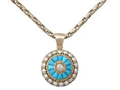 Turquoise, Pearl, Enamel and 0.17 ct Diamond, 15 ct Yellow Gold Pendant - Antique Victorian - Bright and Summery, simple. http://www.acsilver.co.uk/shop/pc/Turquoise-Pearl-Enamel-and-0-17-ct-Diamond-15-ct-Yellow-Gold-Pendant-Antique-Victorian-173p7933.htm