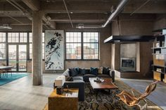 The flour mill lofts appear in several chapters of Denver's history. See how these luxury residences have reemerged with a new modern apartment design. Loft Industrial, Vintage Industrial Decor, Industrial Interior Design, Industrial Living, Industrial Interiors, Modern Interior, Home Interior Design, Industrial Apartment, Modern Decor