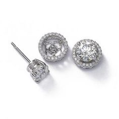 Diamond Earring Jackets 22 Carat 14k White Gold Studs Earrings