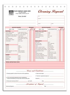 Printable Cleaning Service Receipts Cleaning Invoice Template - Free blank invoice template for service business