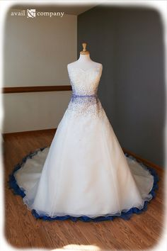 Blue and White Strapless Ball Gown Wedding Dress, LOVE the blue on this!