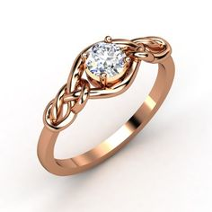 Round Diamond 14K Rose Gold Ring | Sailor's Knot Ring | Gemvara