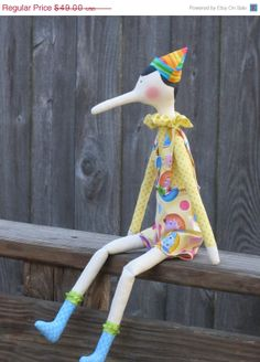 ON SALE Pinocchio doll  cute cloth doll by HappyDollsByLesya, $41.65