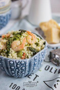 Kalafiorowe risotto z krewetkami i szparagami (paleo) - Cook it Lean - sprawdzone paleo przepisy