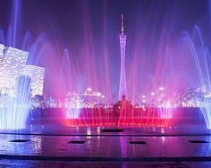 Fountain in Guangzhou Flower City Plaza Pearl River, Four Seasons Hotel, New City, Guangzhou, In The Heart, Walking Tour, Hotels And Resorts, Fountain, Tours