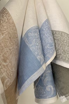 The ultimate kitchen towel that will last a life time. Linen damask from Europe, woven with a beautiful acanthus pattern that covers the whole cloth.