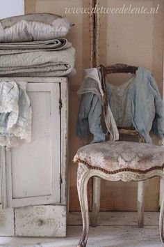 shabby chic chair, vintage cabinet, linens & lace