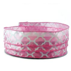 Moroccan Print Light Pink and White Satin Wired Ribbon 9 - 1.5in x 10yards >>> Read more reviews of the product by visiting the link on the image.