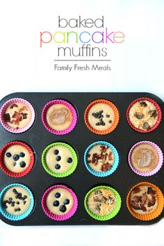 Easy Baked Pancake Muffins - FamilyFreshMeals.com - def with GF pancake mix! I have SO much of it