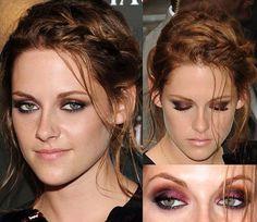 Kristen Stewart red eyeshadow. Mac Cranberry or Loreal Glistening Garnet