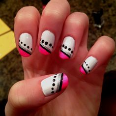 Pink black and white