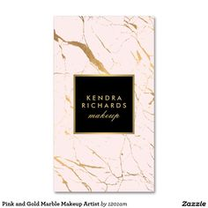 Pink and Gold Marble Makeup Artist Double-Sided Standard Business Cards (Pack Of 100)