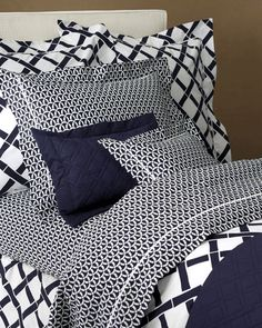 LULU DK MATOUK Marlin Quilted Coverlet in NAVY