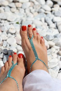 Rhinestones Turquoise Barefoot Sandals Foot Jewelry by Kreacje