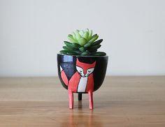 NEW! Three-legged Fox Planter in Black - planter on stilts / with legs - woodland animal - cute succulent pot - handmade, Canadian pottery