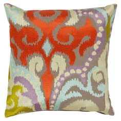 Cotton pillow with an oversized ikat motif. Made in India.  Product: PillowConstruction Material: Cotton and dow...