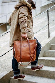 Bleu de Chauffe | Men | Leather tote bag | Nobu shopping bag | Sac ...