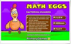 """""""Huevos de pascua"""" de primarygames.com (Divisores de un número). Los huevos de pascua, de primarygames.com, son puestos por las gallinas y es necesario recogerlos en la cesta para que no se rompan. Eso sí, sólo se recogerán los huevos con números que sean divisores del número que aparece en la cesta."""