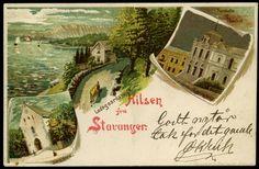 """Rogaland fylke STAVANGER. Flott litho """"HILSEN FRA STAVANGER"""" med tre bilder: Ladegaardsveien, Turnhallen og Domkirken. Brukt 1900"""