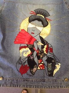 CHICO'S Denim Jeans Jacket with Geisha woman Appliqué Beads on the back.  Shop & Browse : WWW.STORES.EBAY.COM/ CALFORNIAUNIQUEBOUTIQUE  VISIT,LIKE,SHARE,TAG,COMMENT: WWW.FACEBOOK.COM/CALIFORNIAUNIQUEBOUTIQUE