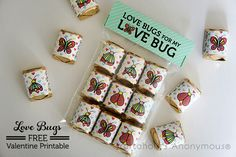 Free Love Bugs Valentine printable includes candy wrappers for Hershey's Nuggets and a treat bag topper. This is the perfect gift for your Love Bugs!
